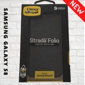 OtterBox Galaxy S8 Black LEATHER Folio NIB📱